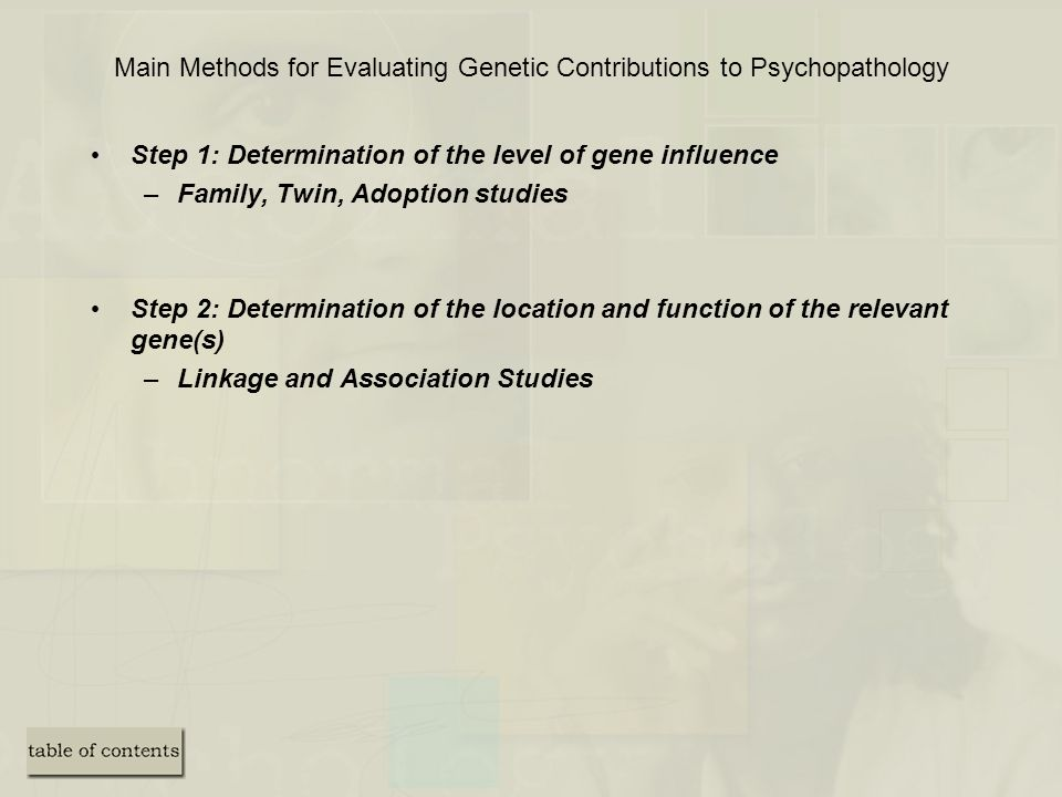 Main Methods for Evaluating Genetic Contributions to Psychopathology