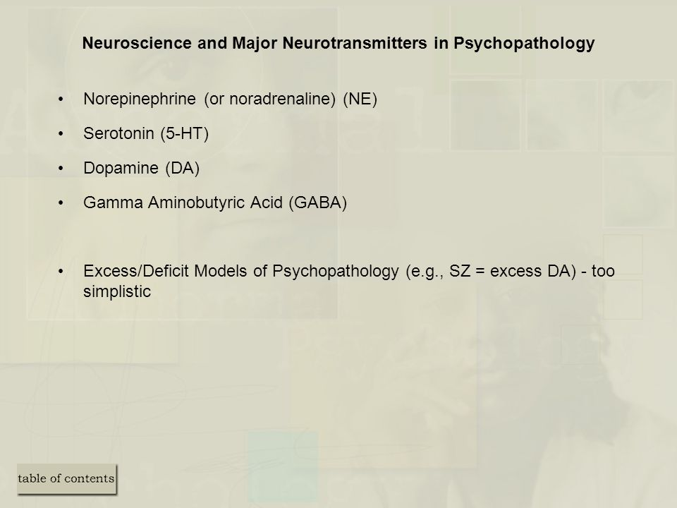 Neuroscience and Major Neurotransmitters in Psychopathology
