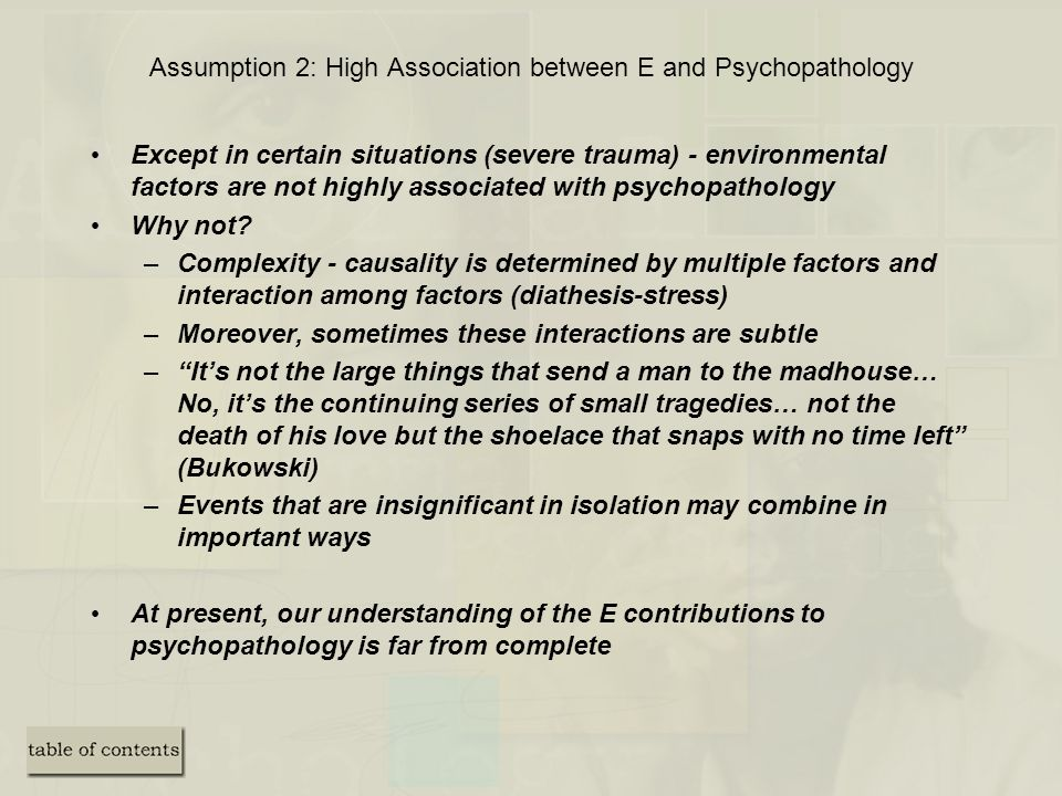Assumption 2: High Association between E and Psychopathology