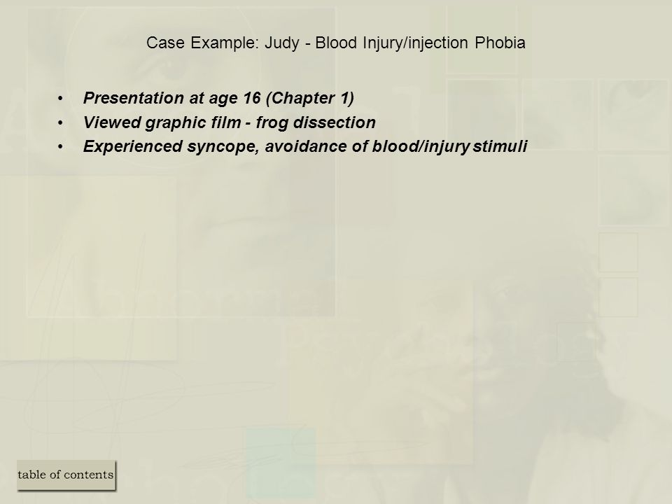 Case Example: Judy - Blood Injury/injection Phobia