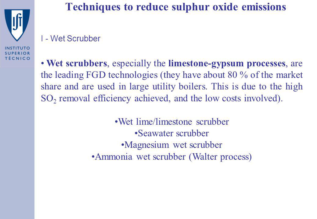 Techniques to reduce sulphur oxide emissions