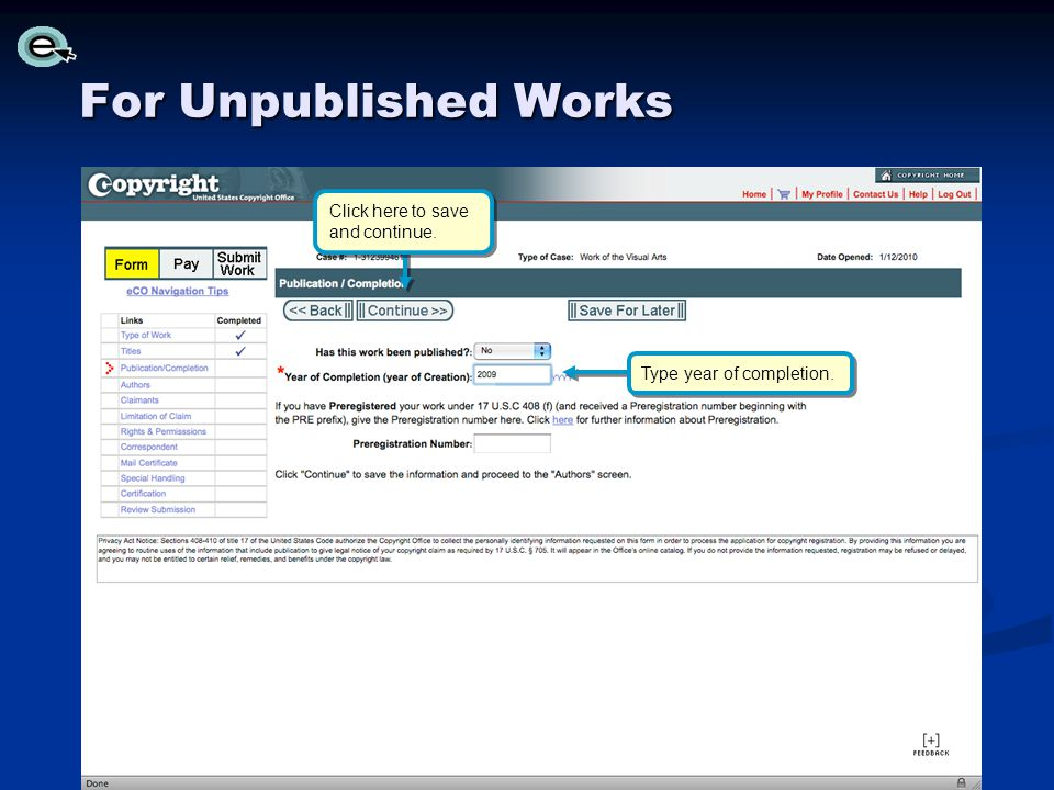 For Unpublished Works Click here to save and continue.