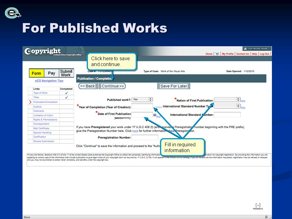 For Published Works Click here to save and continue.