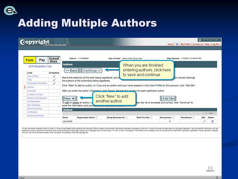 Adding Multiple Authors
