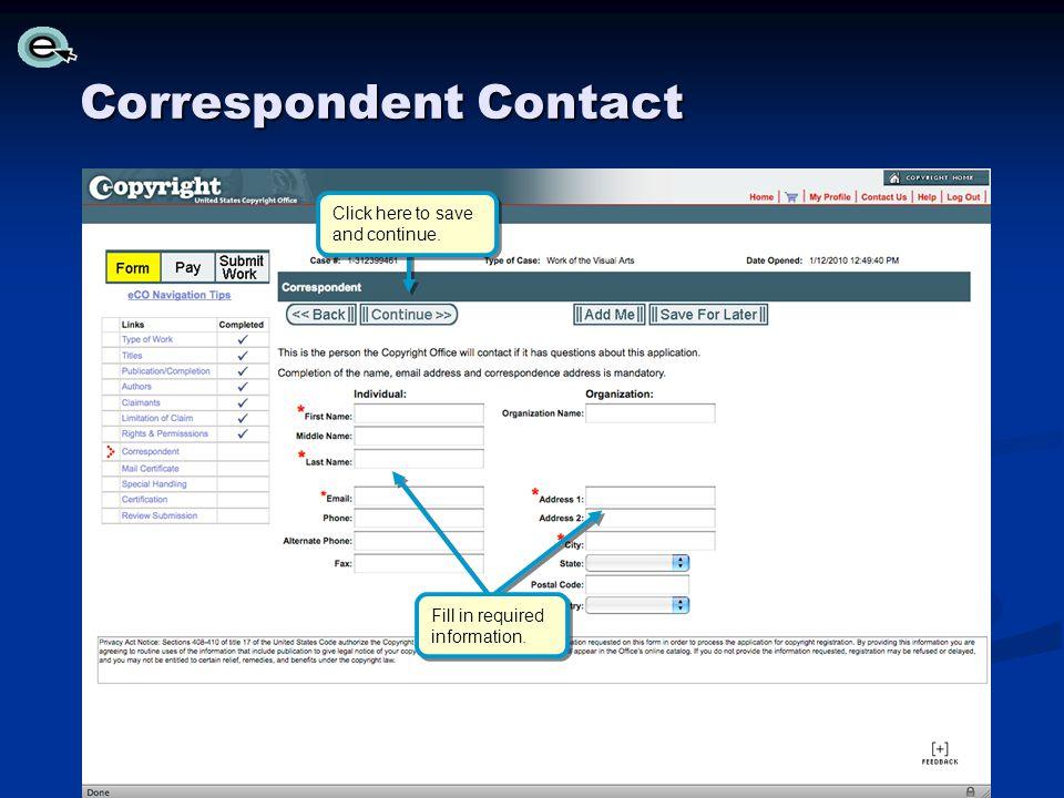 Correspondent Contact