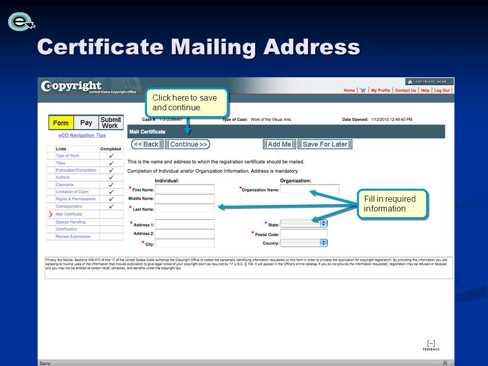 Certificate Mailing Address