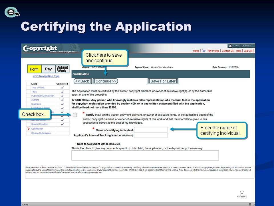 Certifying the Application