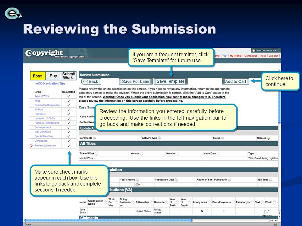 Reviewing the Submission