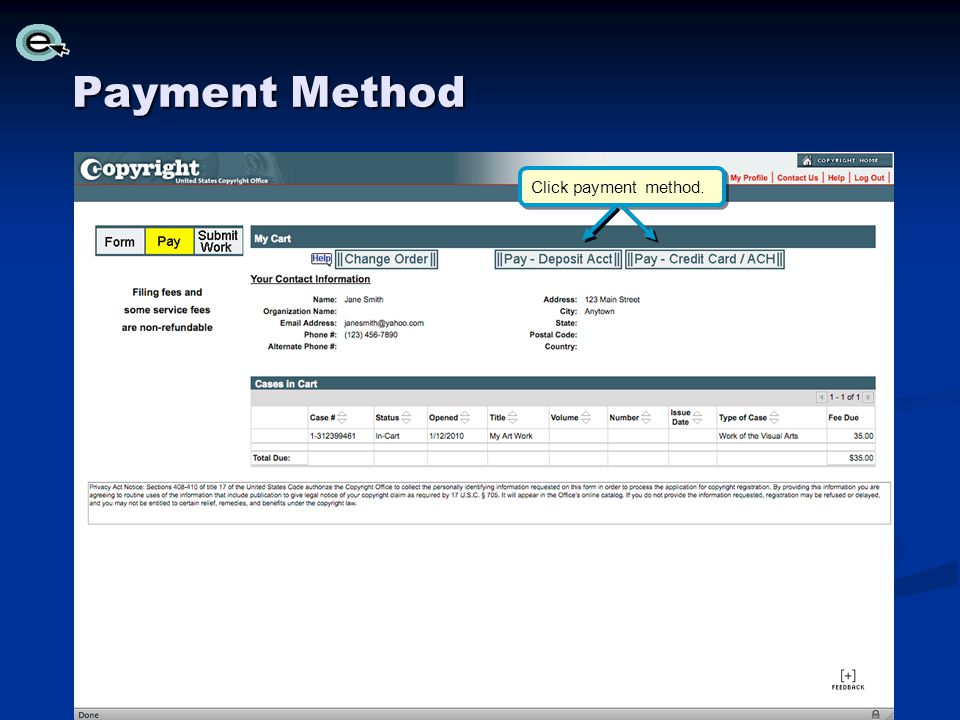 Payment Method Click payment method.