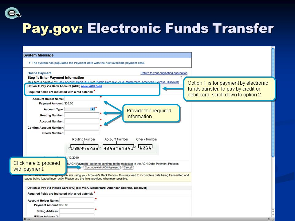Pay.gov: Electronic Funds Transfer