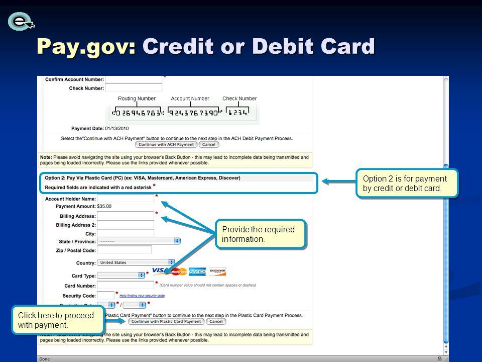 Pay.gov: Credit or Debit Card