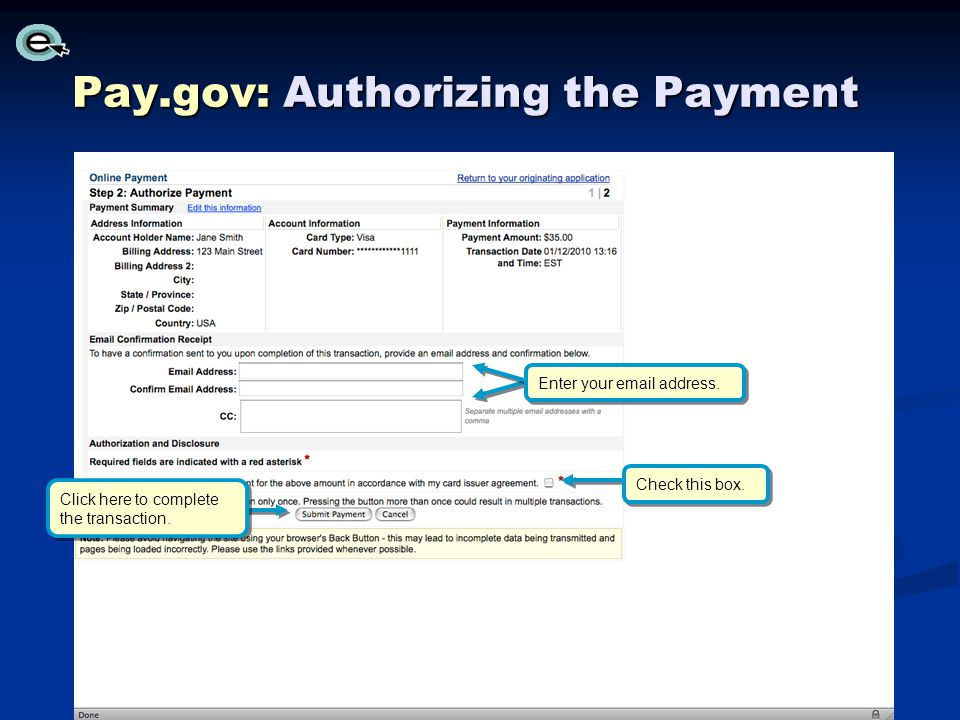 Pay.gov: Authorizing the Payment