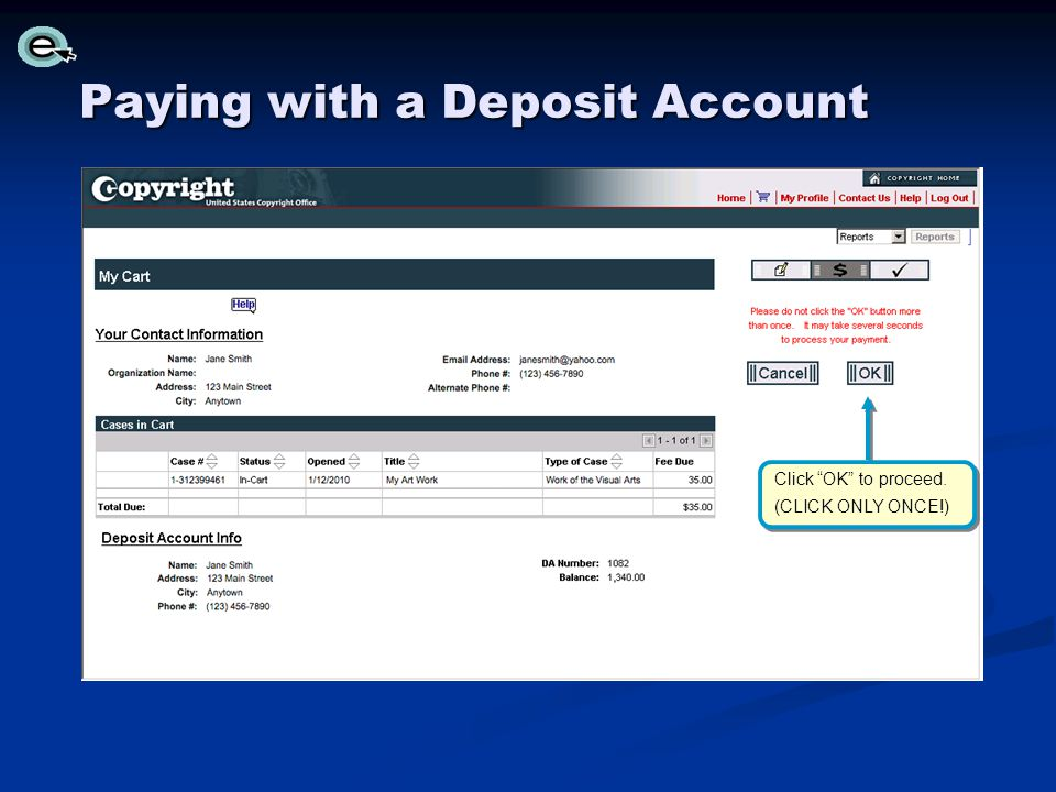 Paying with a Deposit Account