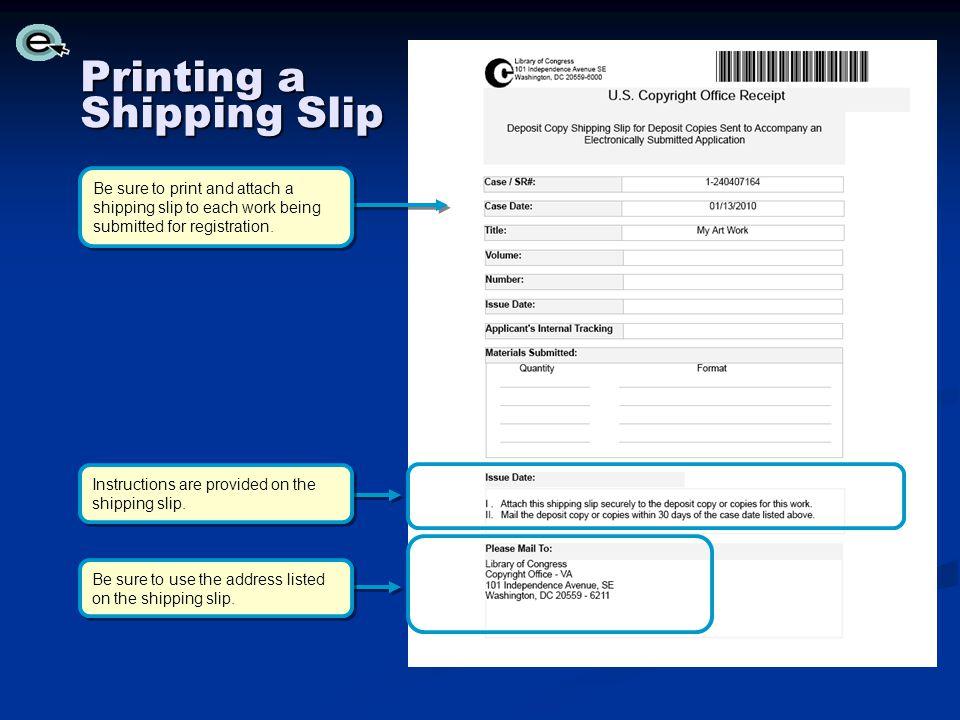 Printing a Shipping Slip