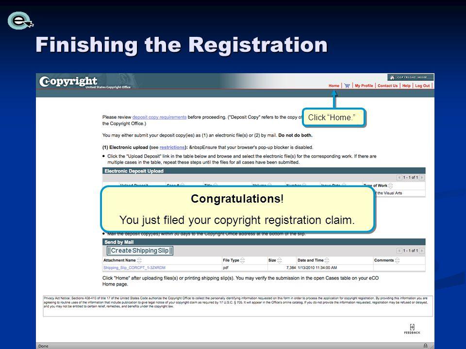 Finishing the Registration