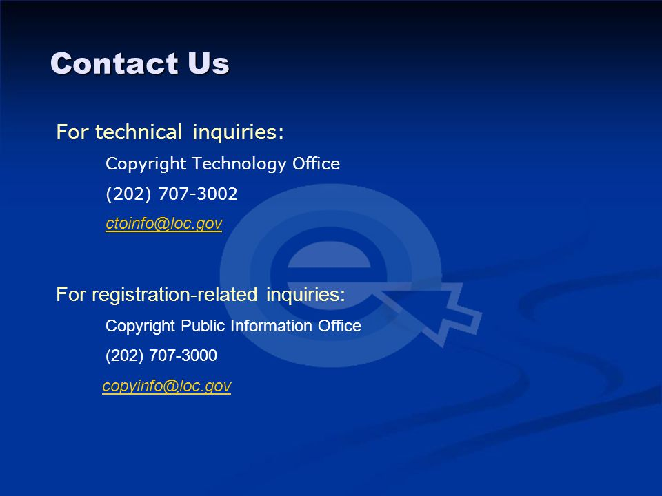Contact Us For technical inquiries: