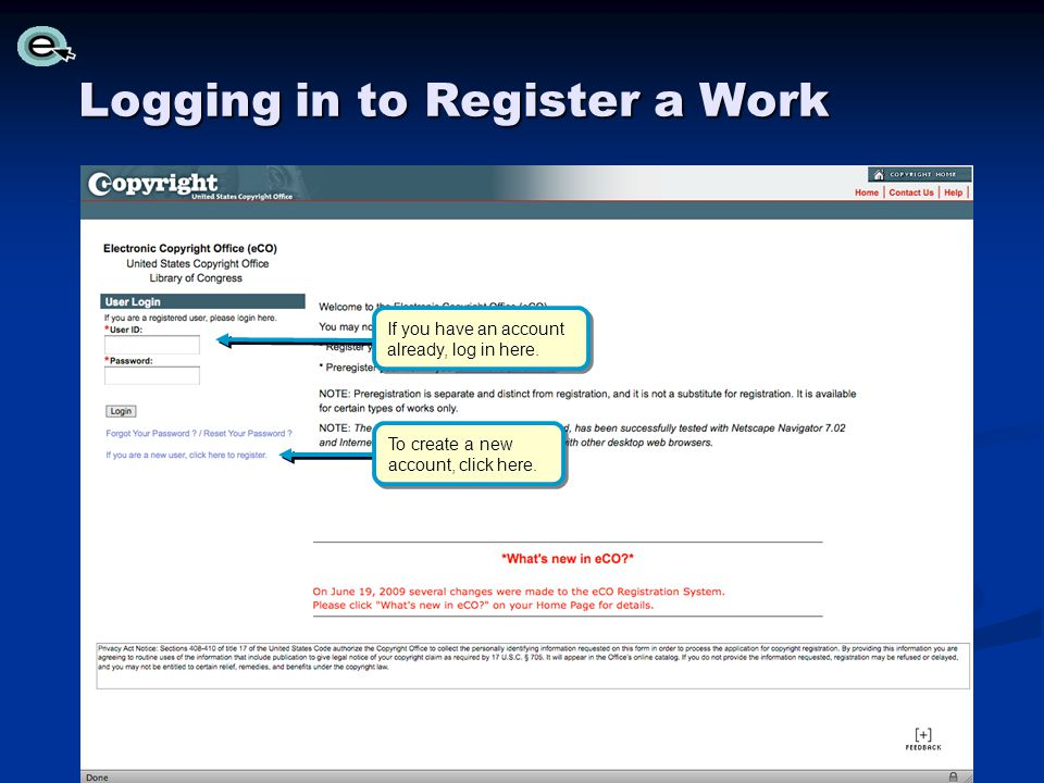 Logging in to Register a Work