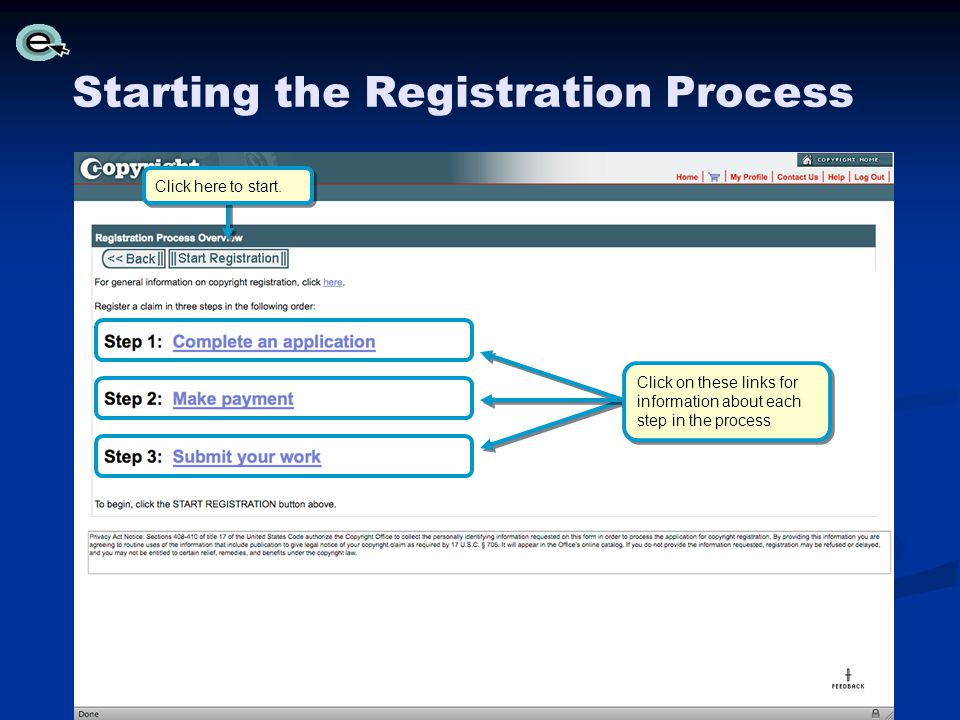 Starting the Registration Process