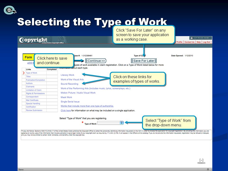 Selecting the Type of Work
