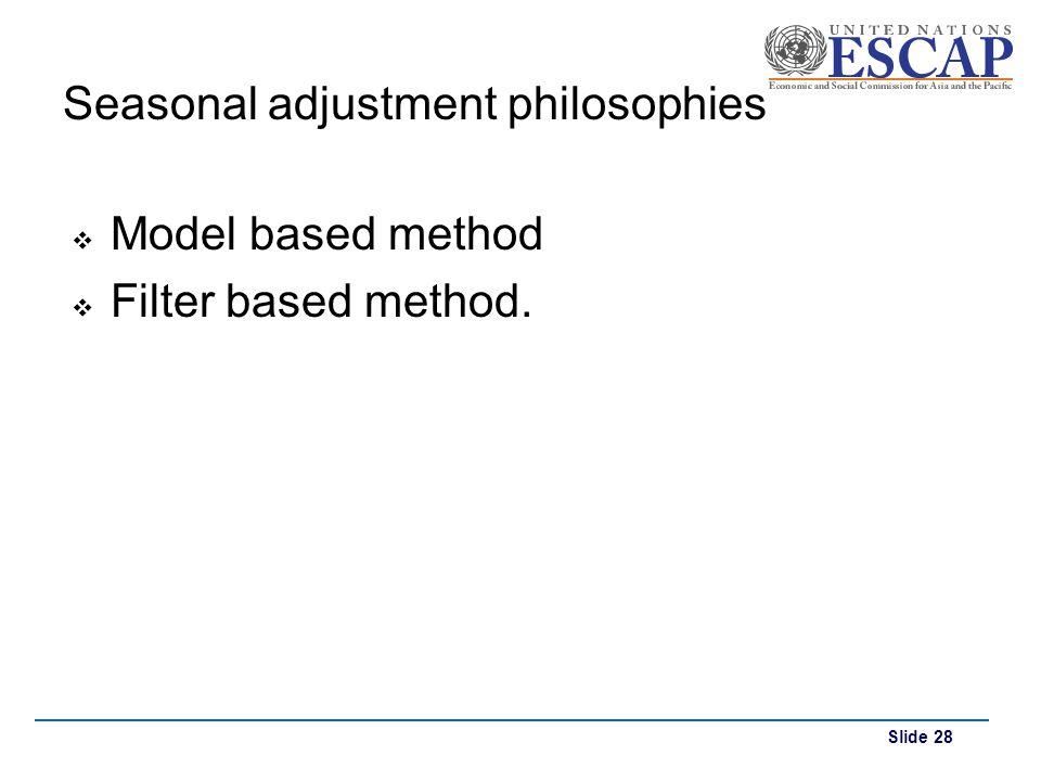 Seasonal adjustment philosophies