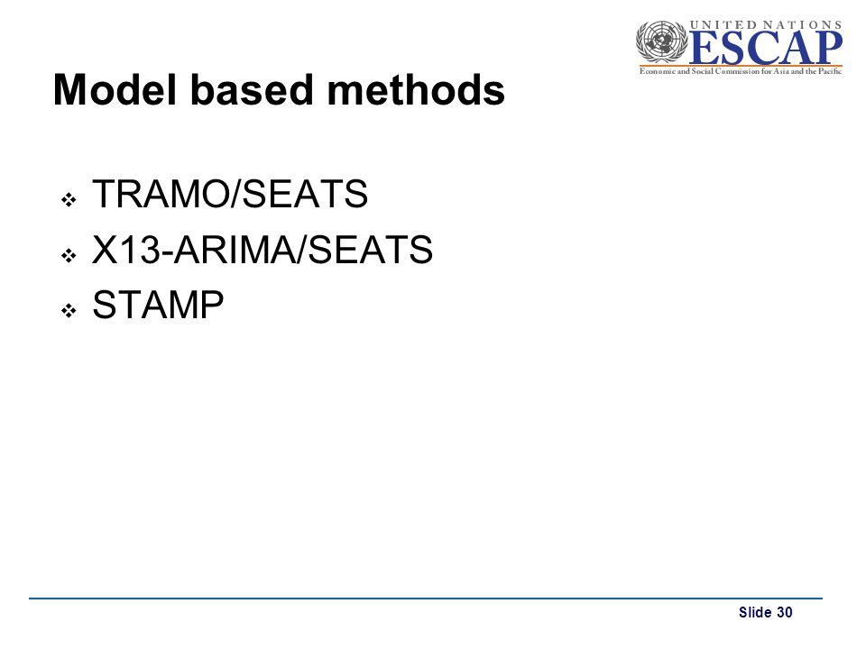Model based methods TRAMO/SEATS X13-ARIMA/SEATS STAMP