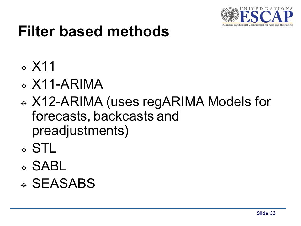 Filter based methods X11 X11-ARIMA