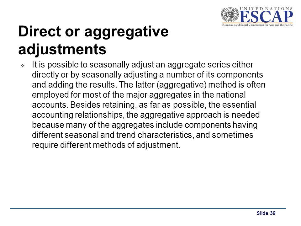 Direct or aggregative adjustments