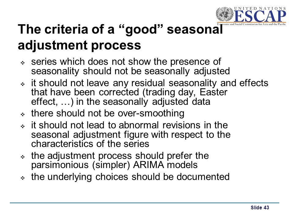 The criteria of a good seasonal adjustment process