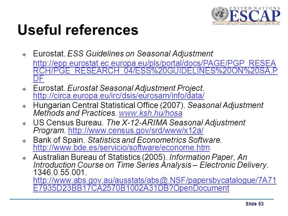 Useful references Eurostat. ESS Guidelines on Seasonal Adjustment