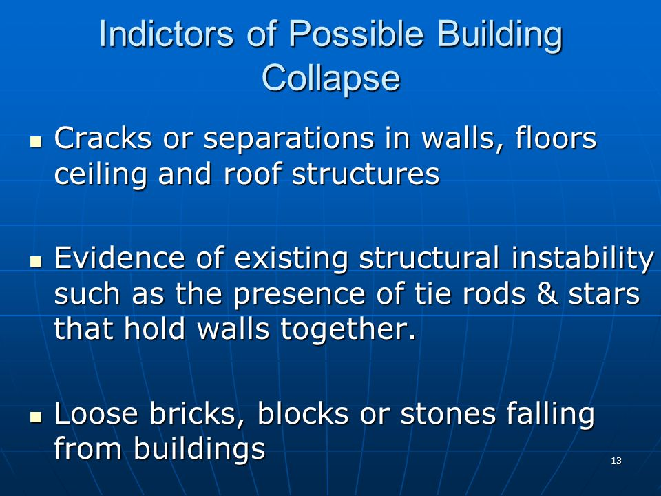 Indictors of Possible Building Collapse