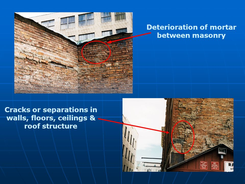 Deterioration of mortar between masonry