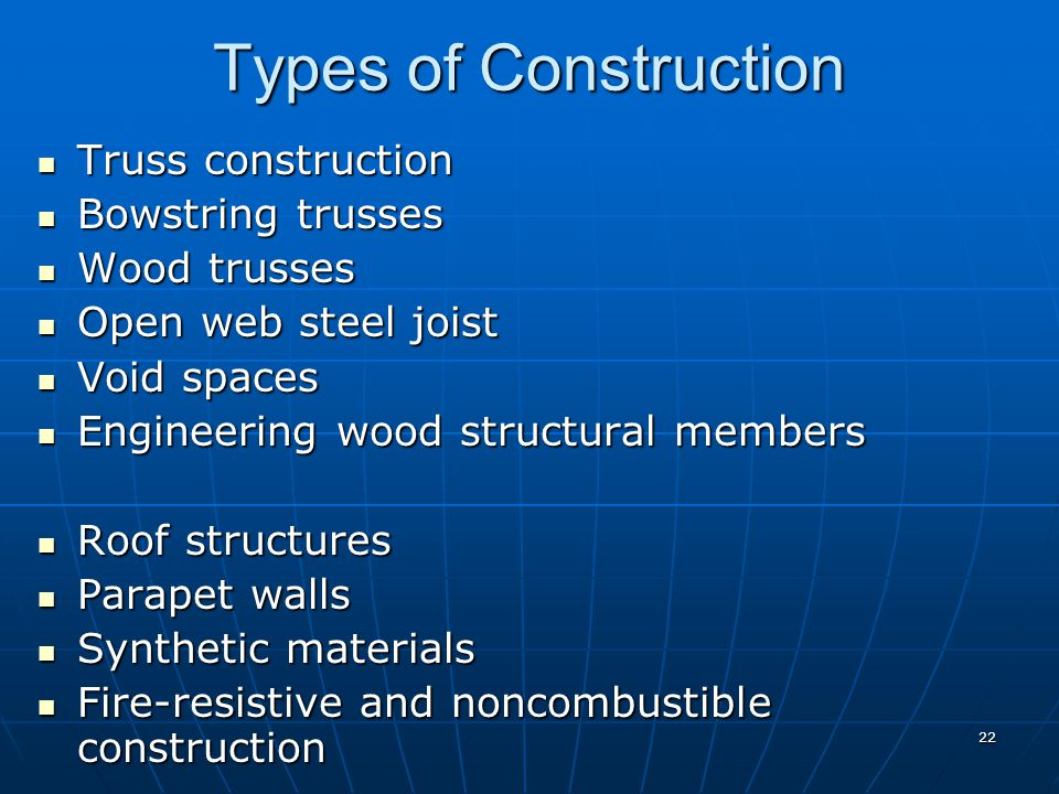 Types of Construction Truss construction Bowstring trusses