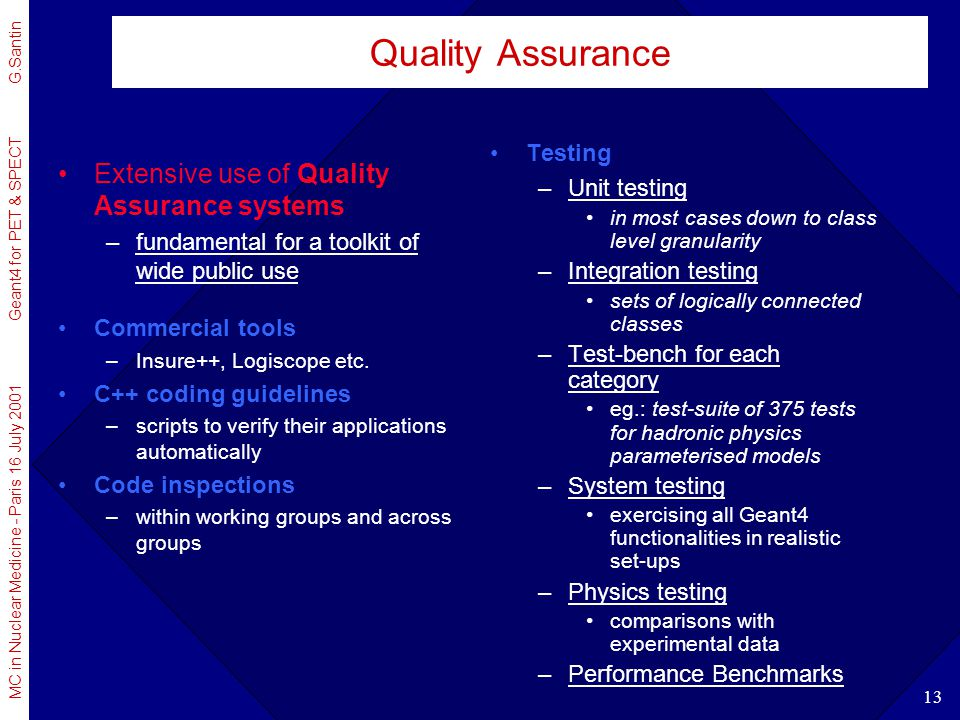 Quality Assurance Extensive use of Quality Assurance systems Testing