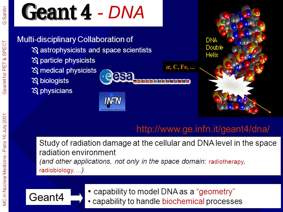 - DNA Geant4 http://www.ge.infn.it/geant4/dna/