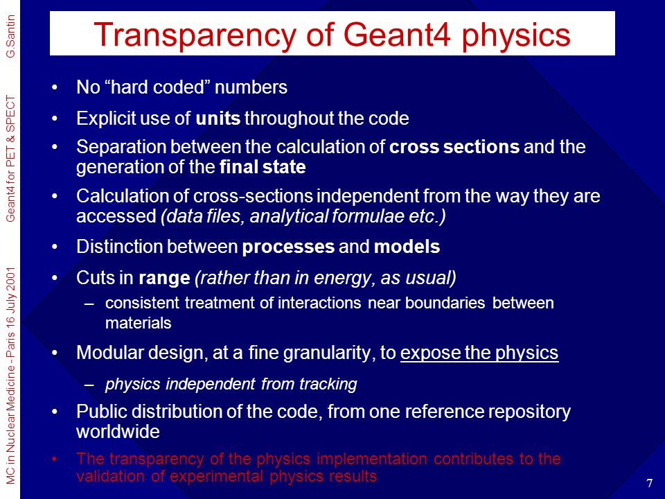 Transparency of Geant4 physics