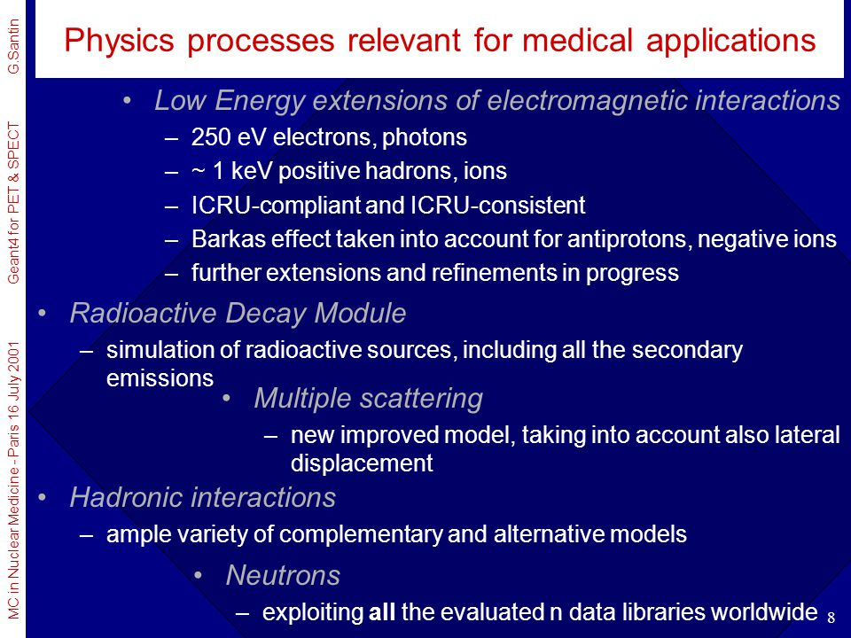 Physics processes relevant for medical applications