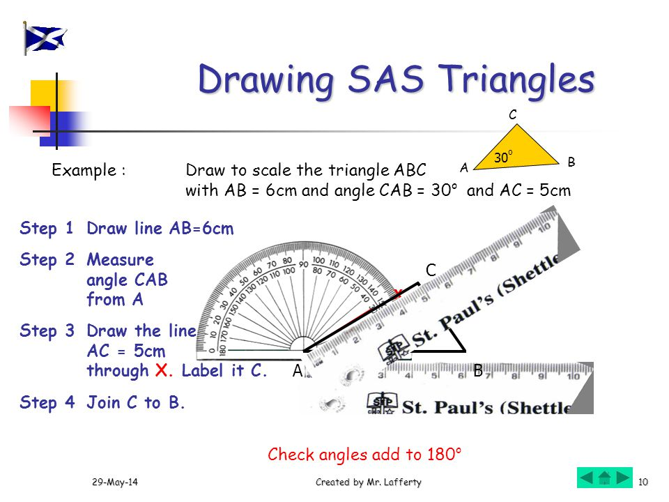 Drawing Lines With Triangle Combination : Drawing triangles using a protractor select sas