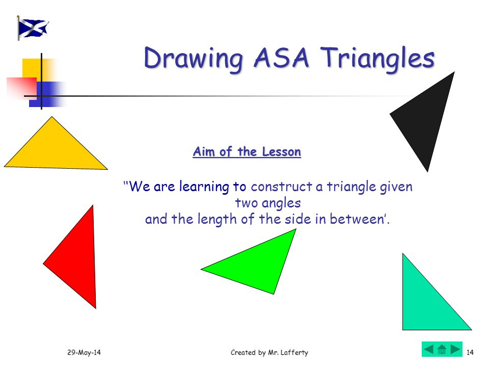 Drawing ASA Triangles Aim of the Lesson. ''We are learning to construct a triangle given two angles.