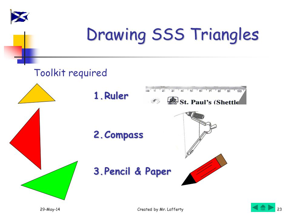 Drawing SSS Triangles Toolkit required Ruler 2. Compass