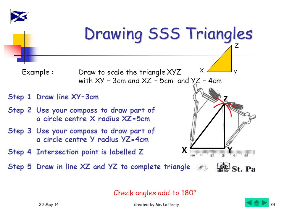 Drawing SSS Triangles Example : Draw to scale the triangle XYZ