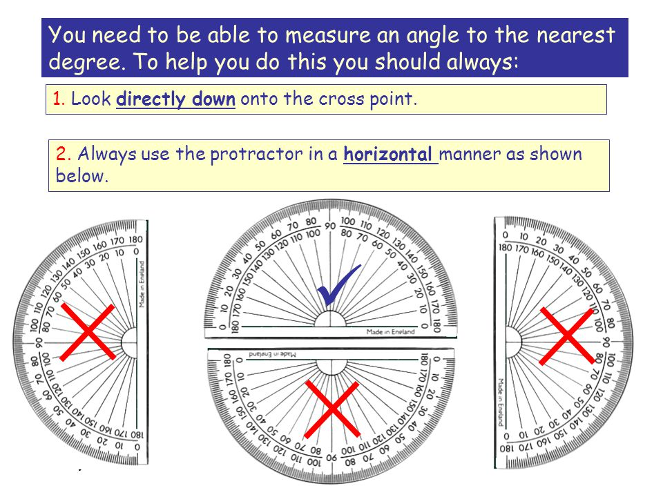 You need to be able to measure an angle to the nearest degree