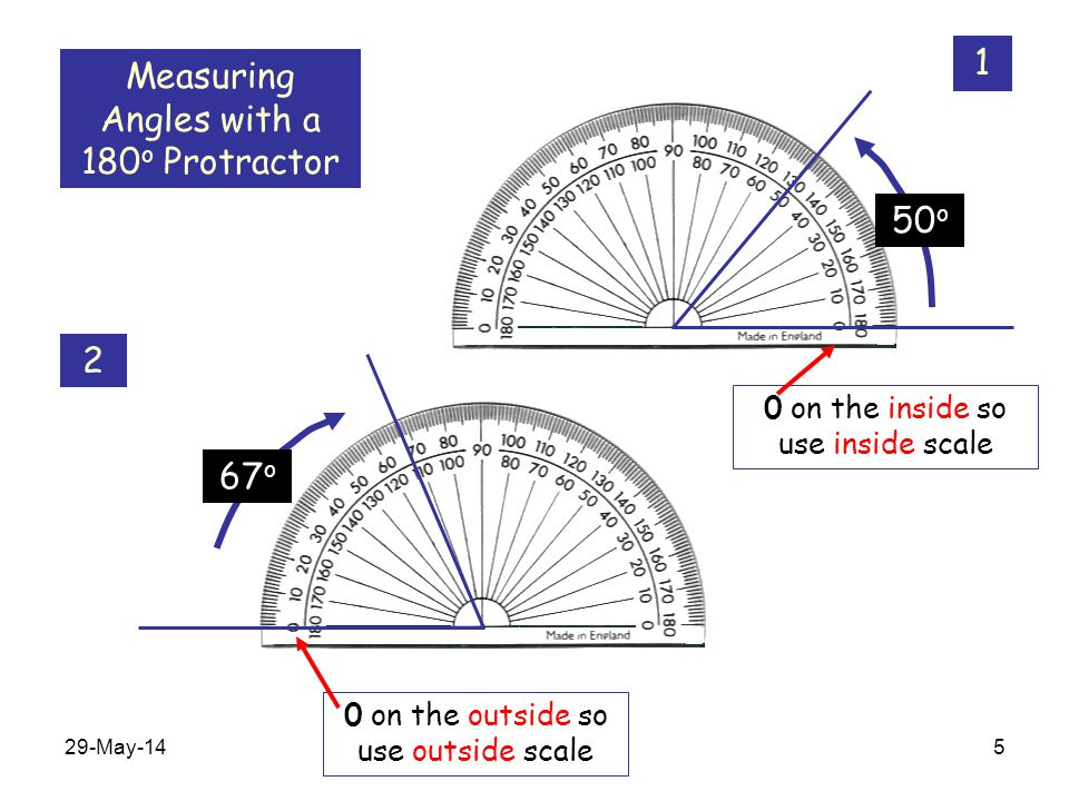 Measuring Angles with a 180o Protractor