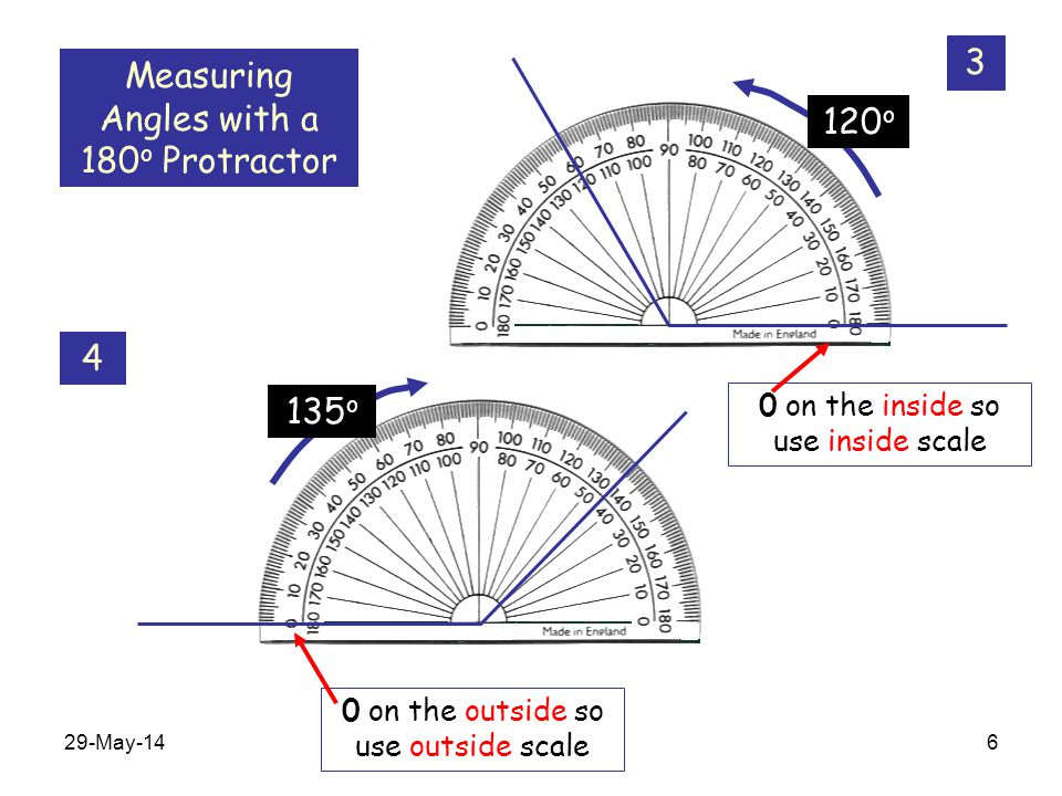 Measuring Angles with a 180o Protractor 120o