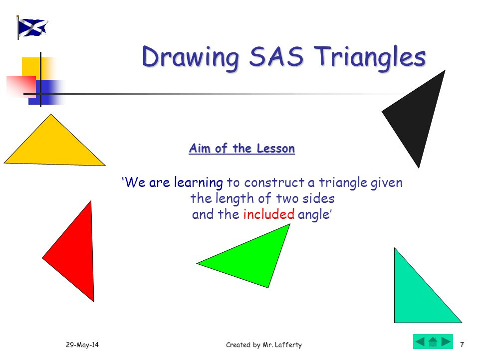 Drawing SAS Triangles 'We are learning to construct a triangle given