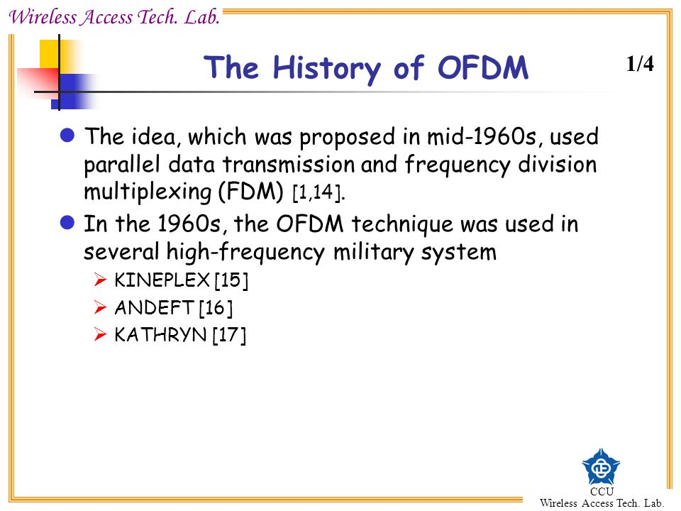 The History of OFDM 1/4.