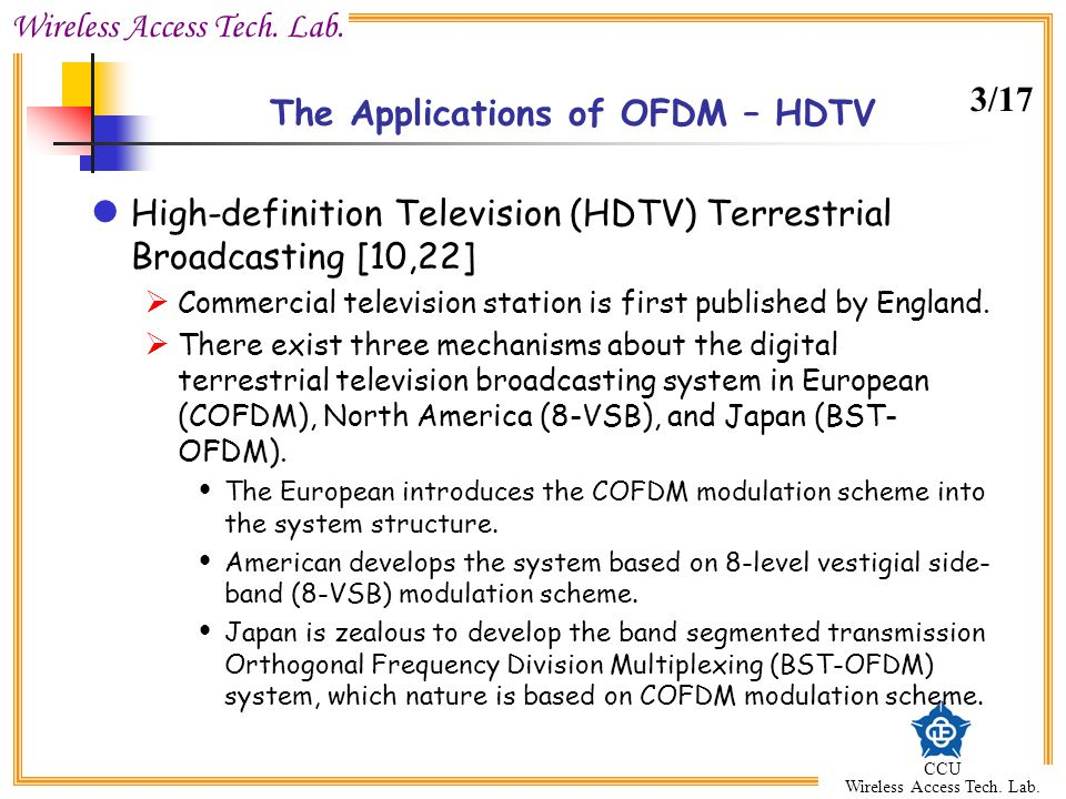 The Applications of OFDM – HDTV