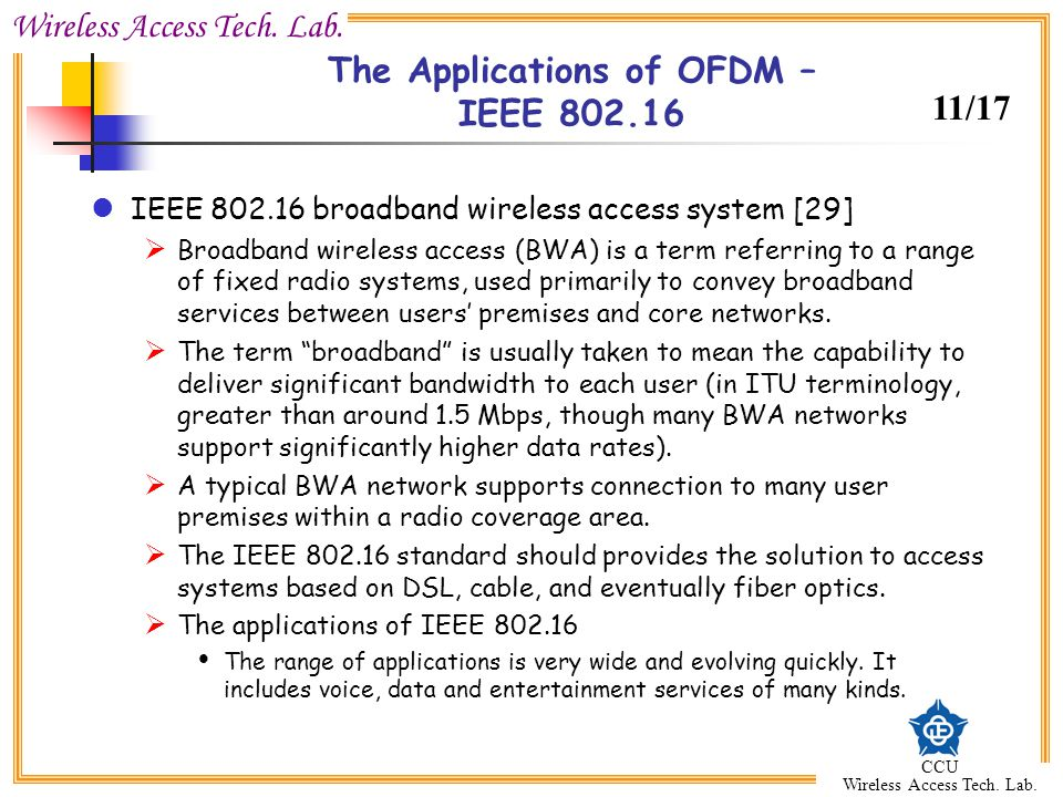 The Applications of OFDM – IEEE 802.16