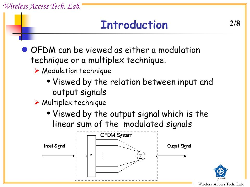 Introduction 2/8. OFDM can be viewed as either a modulation technique or a multiplex technique. Modulation technique.