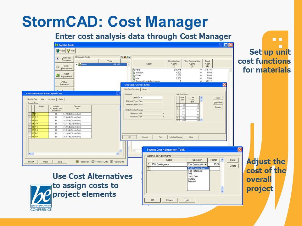 StormCAD: Cost Manager