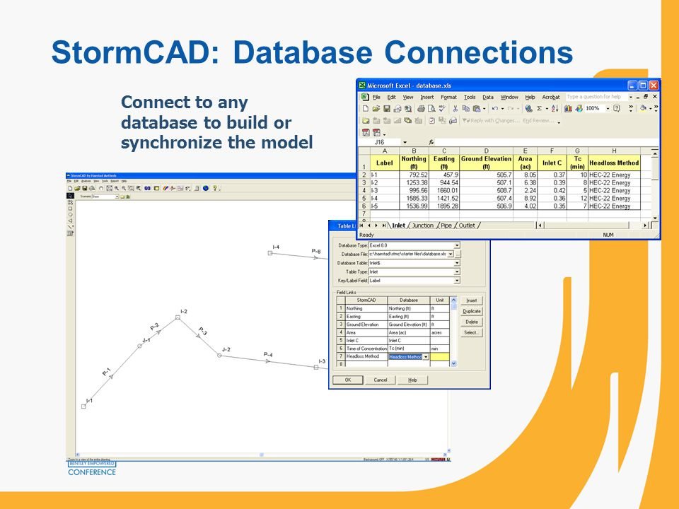 StormCAD: Database Connections